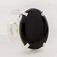 Jade cocktail ring, 'Black Abstraction' - Black Guatemalan Jade on Handmade Wide 925 Silver Ring