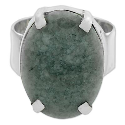 Apple Green Guatemalan Jade on Handmade Wide 925 Silver Ring