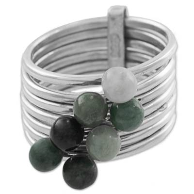 Green and Black Jade Gem Ring in 925 Silver