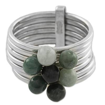 Jade cocktail ring, 'My Daily Blessings' - Green and Black Jade Gem Ring in 925 Silver