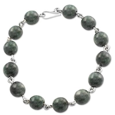 Dark Green Guatemalan Jade Bracelet Artisan Crafted Jewelry