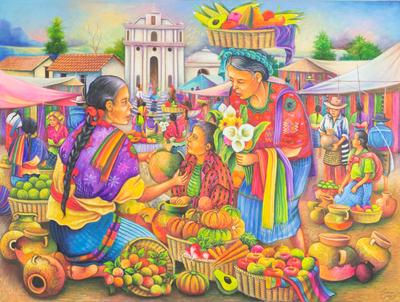 Original Oil Painting of Market Scene from Guatemala