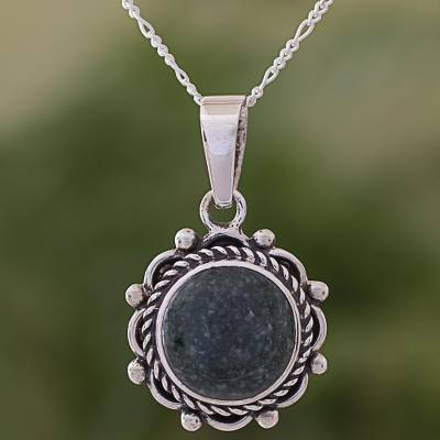 Jade pendant necklace, 'Green Antigua Sun' - Guatemalan Green Jade and Sterling Silver Pendant Necklace