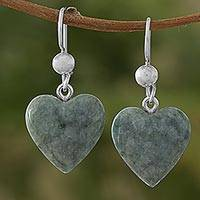 Jade dangle earrings, 'Mayan Heart in Green' - Green Heart Shaped Jade Silver Dangle Earrings Guatemala
