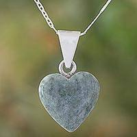 Featured review for Jade pendant necklace, Mayan Heart in Light Green