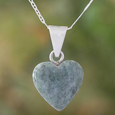 Jade pendant necklace, 'Mayan Heart in Light Green' - Light Green Jade Silver Heart Pendant Necklace Guatemala