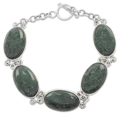 Unique Sterling Silver Green Jade Oval Link Bracelet