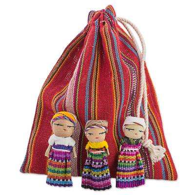 Set of 12 Guatemalan Worry Dolls with Pouch in 100% Cotton