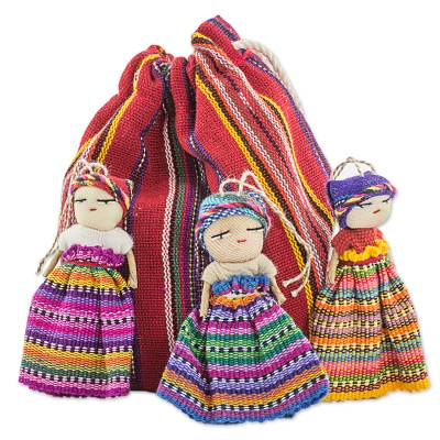 Hand Made Cotton Figurines and Bag (Set of 12) Guatemala