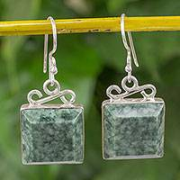 Jade dangle earrings, 'Smooth Sailing' - Pale Green Guatemalan Jade Sterling Silver Dangle Earrings