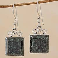 Jade dangle earrings, 'Smooth Sailing in Dark Green' - Green Jade Sterling Silver Dangle Earrings Guatemala