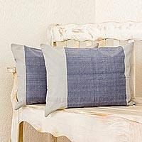 Cotton pillow shams, 'Dreamy Cadet Blue' (pair) - 2 Cadet Blue and Pearl Grey Hand Woven Cotton Pillow Shams
