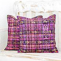 Cotton cushion covers, 'Tropical Orchids' (pair) - Pair of Rose and Violet Hand Woven Cotton Cushion Covers
