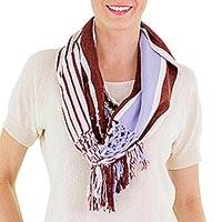 Cotton infinity scarf, 'Exuberant Beauty in Russet' - Russet and Periwinkle Striped Cotton Infinity Scarf