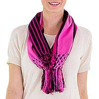 Cotton infinity scarf, 'Exuberant Beauty in Pink' - Pink and Black Striped Cotton Infinity Scarf with Fringe