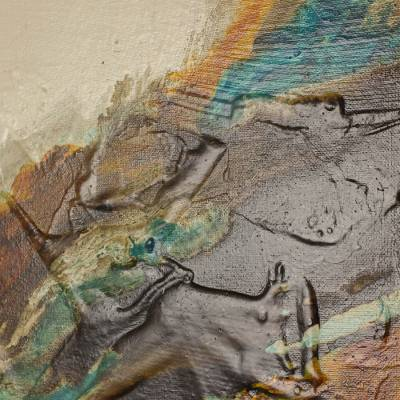 'Oxygen 79' - Salvadoran Earth Tone Original Mixed Media Abstract Painting