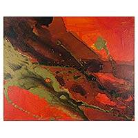 'The Mermaid's Country 78' - Signed Abstract Painting from El Salvador in Passionate Reds