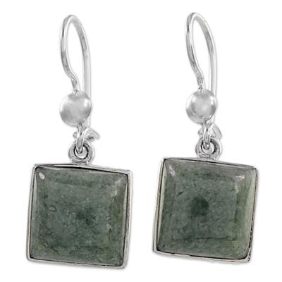 Sterling Silver Jade Dangle Earrings from Guatemala