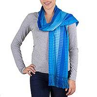 Cotton scarf, 'Royal Blue Paths' - Cerulean Striped Cotton Scarf from Guatemala