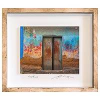 Photo collage, 'Colored Simplicity' - Framed 3D Photo Collage Art Multicolored Door from Guatemala