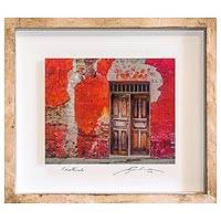 Photo collage, 'The Red House' - Framed 3D Photograph Collage Art Red Doorway from Guatemala