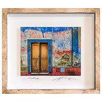 Photo collage, 'House of Memories' - Framed 3D Photo Collage Multicolor Doorway from Guatemala