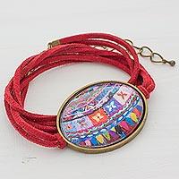 Brass and glass wrap bracelet,