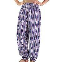 Cotton harem pants, 'Purple Arrows on Blue' - Jaspe Handwoven Cotton Harem Pants in Blues and Purples