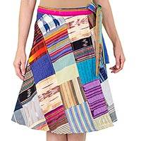 Cotton wrap skirt, 'Maya Mix-up' - Handwoven Maya Patchwork Cotton Wrap Skirt