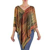 Rayon chenille poncho, 'Ethereal Ginger' - Hand Woven Ginger Rayon Chenille Poncho from Guatemala