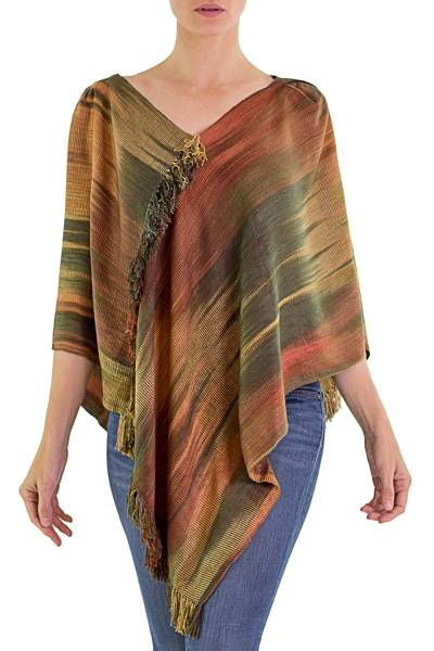 Hand Woven Ginger Rayon Chenille Poncho from Guatemala