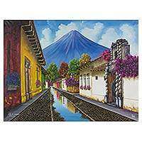 'Street of the Bells' - Antigua Guatemala Signed Oil on Canvas Painting
