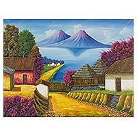 'Lake Atitlan' - Colorful Signed Oil Painting of Lake Atitlan