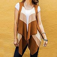 Cotton vest, 'Natural Diva in Brown' - 100% Cotton Brown and Ivory Vest from Guatemala