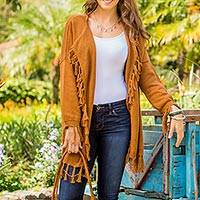 Cotton cardigan, 'Sepia Chic' - 100% Cotton Tasseled Cardigan in Sepia from Guatemala