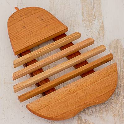 Cedar wood trivet, 'Fresh Pear' - Cedar Wood Trivet Pear Shape from Guatemala