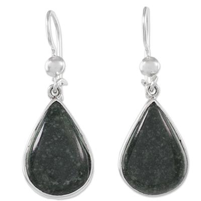 Sterling Silver Green Jade Dangle earrings from Guatemala