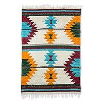 Wool rug, 'Unity of Color' (4x6) - Geometric Wool Area Rug in Brick and Sunrise (4x6)