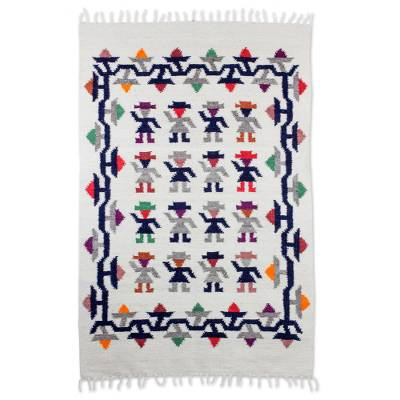 Wool rug, 'Geometric Space' (4x6) - Geometric Wool Area Rug in Multicolor from Guatemala (4x6)