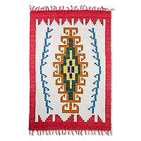 Wool rug Sacred Maize 4x6 Guatemala