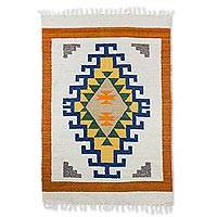 Wool rug, 'Living Culture' (4x6) - Geometric Wool Area Rug in Champagne and Sunrise (4x6)