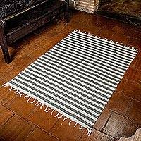 Wool area rug, 'Paths of Hope' (4x6) - Brown and Ivory Striped 100% Wool Area Rug (4x6)