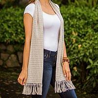 Cotton scarf, 'Natural Combination in Blue' - Pale Ecru and Blue Spruce Cotton Scarf from Guatemala