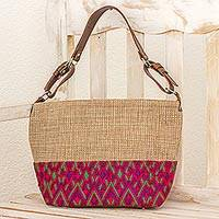 Leather accent cotton tote handbag,