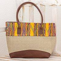 Leather accented cotton tote handbag, 'Radiant San Juan' - Cotton Handbag in Khaki with Leather Strap