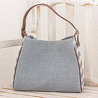 Leather accented cotton tote handbag,
