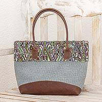Leather accented cotton tote handbag, 'Mayan Dreams' - Cotton Handbag Multicolor Blue Spruce Strap Guatemala
