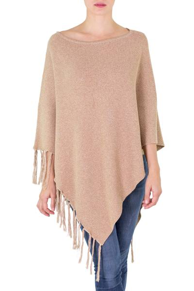 Cotton Poncho with Fringe and Tan Color from Guatemala