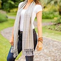 Cotton scarf, 'Fresh Blue' - Hand Woven Striped Cotton Scarf with Fringes from Guatemala
