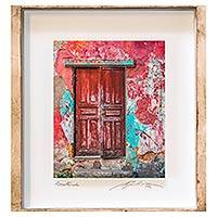 Photo collage, 'Cherry Facade' - Framed 3D Photograph Collage Art Rosy Doorway from Guatemala